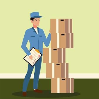 Postino di servizio postale con illustrazione di scatole di cartone e appunti
