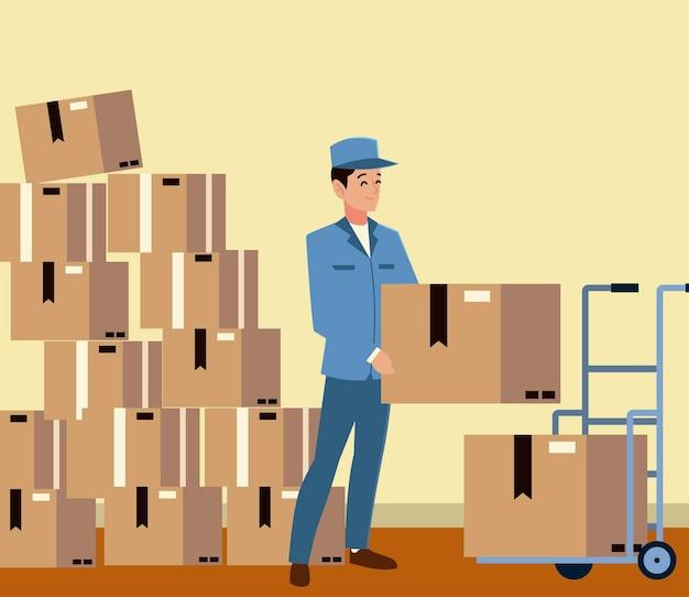 Postino di servizio postale con molte scatole consegna logistica illustrazione Vettore Premium