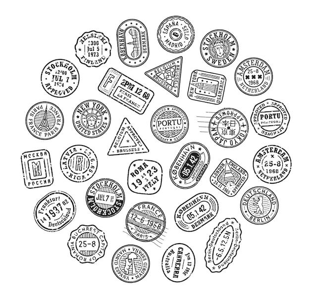 Set di francobolli postali gruppo di timbri postali vecchi timbri per passaporti colorati