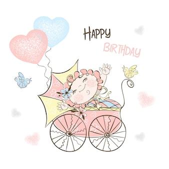 Cartolina per la nascita di una ragazza con passeggino e palloncini.