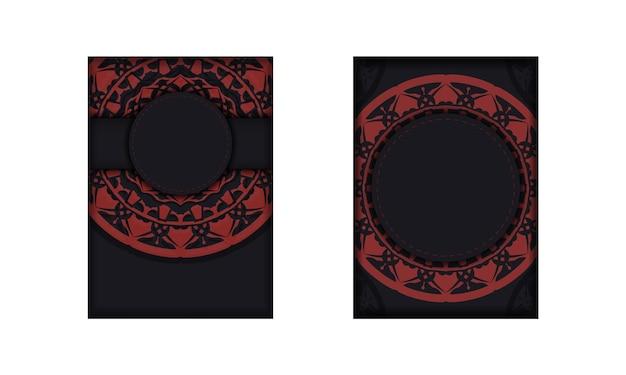 Cartolina design colori neri con ornamento greco. progettazione di un invito con un posto per il tuo testo e motivi luxury.