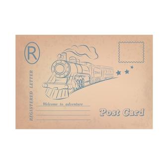 Illustrazione della cartolina. viaggiare in treno.