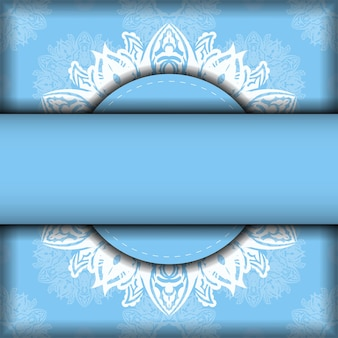 Cartolina in azzurro con motivo bianco vintage per il tuo marchio.