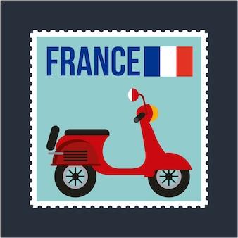 Cartolina della bandiera della francia del motociclo