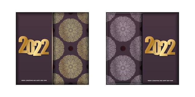 Modello di cartolina 2022 buon natale colore bordeaux con ornamento d'oro vintage