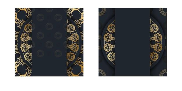 Modello di cartolina in colore nero con motivo dorato indiano per il tuo design.