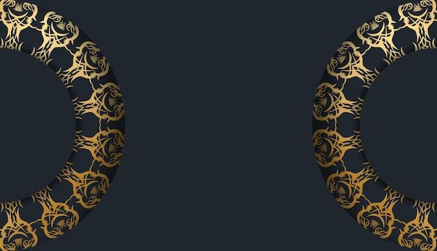 Modello di cartolina in nero con motivo dorato indiano per il tuo marchio.