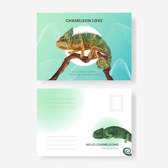 Modello di cartolina con lucertola camaleonte in stile acquerello