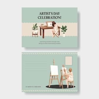 Modelli di cartoline con la giornata internazionale degli artisti in stile acquerello