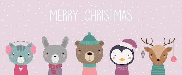 Una cartolina con animali di natale gatto lepre orso pinguino cervo