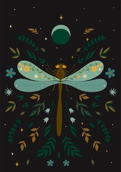 Cartolina con una libellula in stile boho. grafica vettoriale.