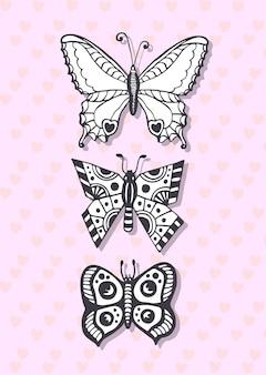 Cartolina con le farfalle di disegno a mano. cartolina d'auguri sveglia. pagina di colorazione.