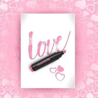 Cartolina con la scritta amore.