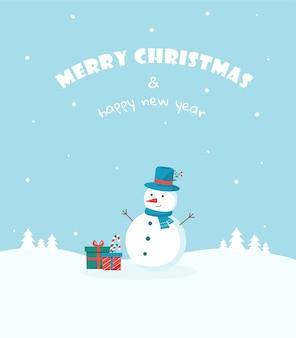 Cartolina con auguri di buon natale e felice anno nuovo pupazzo di neve e regali