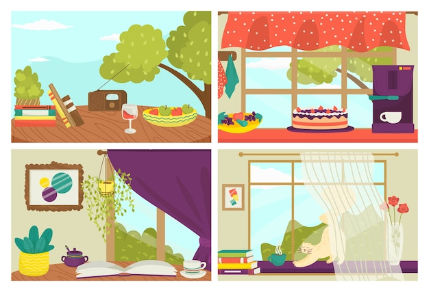 Set di cartoline di illustrazioni. modelli di carte di natura morta, cartoline estive con simpatico gatto sul davanzale della finestra, libri e collezione di torte. stile per la stampa di auguri, decorazione.