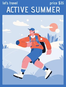Poster di active summer and lets travel concept.
