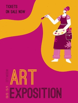 Poster di art exposition at city museum concept. artista che tiene la tavolozza dei colori e il pennello.