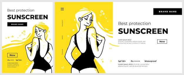 Poster e banner o modello di pagina di destinazione per la protezione solare personaggio di donna sorridente felice