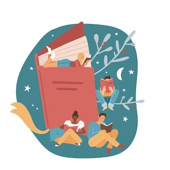 Poster o striscione con diversi piccoli personaggi maschili e femminili concetto di festival del libro di un tuny peo...