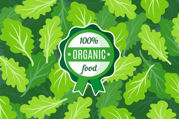 Poster o striscione con illustrazione di sfondo insalata verde e etichetta verde rotonda di alimenti biologici