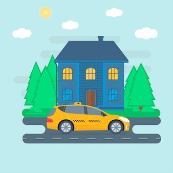 Poster, striscione con il taxi giallo della macchina in città. concetto di servizio di taxi pubblico. paesaggio urbano sullo sfondo. illustrazione vettoriale piatto.