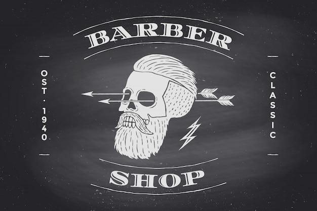 Poster dell'etichetta barber shop sulla lavagna nera