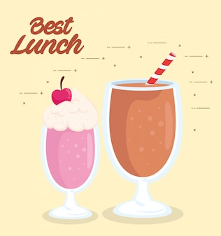 Poster del miglior pranzo con deliziosi frappè