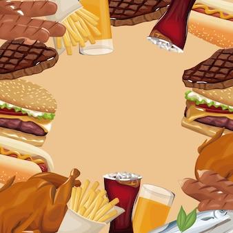 Fast food poster border diverso