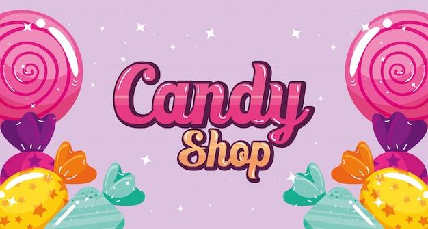 Poster del negozio di caramelle con caramelle cornice