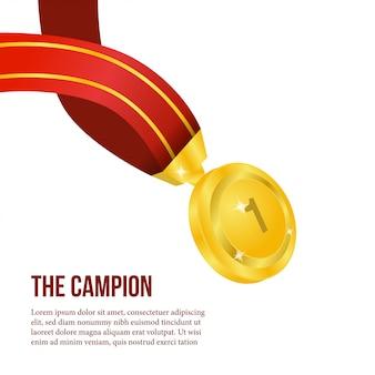 Campione di poster con medaglia d'oro realistica