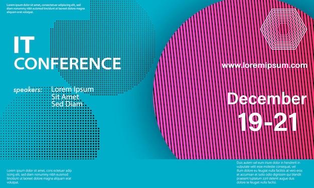 Manifesto. modello di progettazione della conferenza. sfondo di affari. elementi colorati. conferenza di annuncio. disegno astratto della copertina. illustrazione vettoriale.