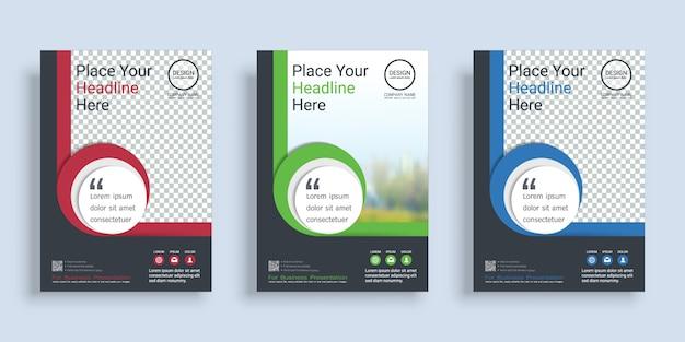 Modello di progettazione del libro di copertina del manifesto con spazio per il fondo della foto.