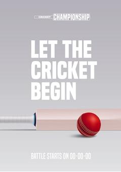 Poster per illustrazione di cricket. palla e mazza per gara sportiva