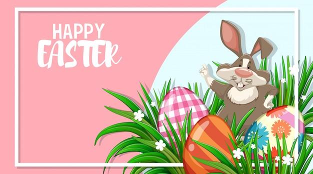 Progettazione del manifesto per pasqua con il coniglietto e le uova dipinte in giardino