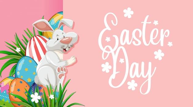 Design del poster per pasqua con coniglietto e uova di pasqua