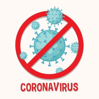 Design del poster con cellula coronavirus e segnale di stop
