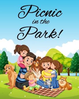 Design di poster con picnic in famiglia nel parco