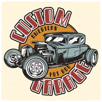 Poster design con illustrazione di hot rod