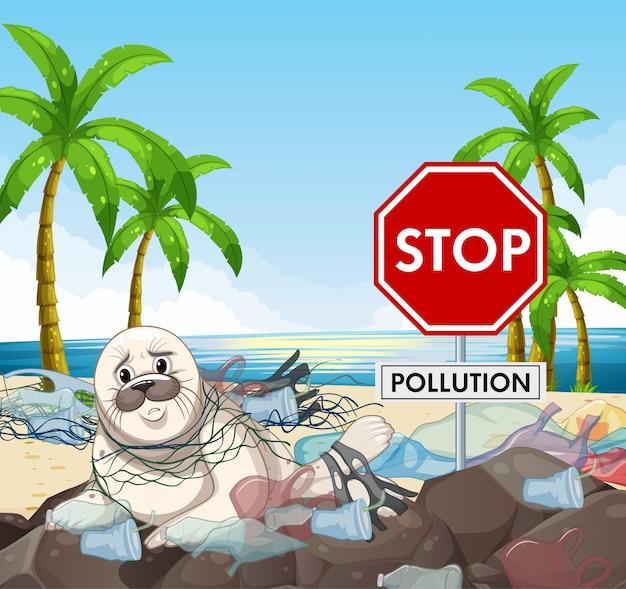 Design del poster con sigillo e stop segno di inquinamento