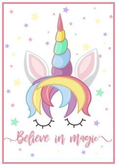 Design di poster con testa di unicorno