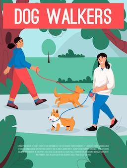 Poster del concetto di dog walkers proprietari di sesso femminile con animali domestici