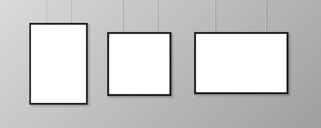 Cornici per poster. illustrazione. collezione di manifesti bianchi su sfondo grigio. cornici.