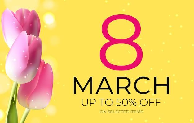 Poster giornata internazionale della donna felice 8 marzo vendita di biglietti di auguri