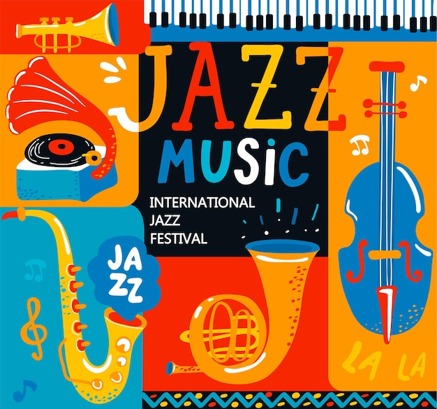 Poster per il festival musicale jazz con strumenti di musica classica - violoncello, cornetta, tuba, clarinetto, sassofono e grammofono. lettere disegnate a mano. illustrazione vettoriale per eventi musicali, concerti jazz.