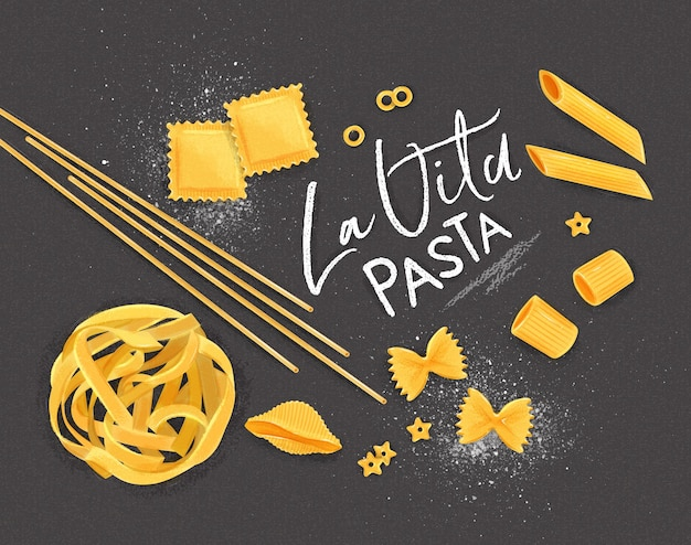 Poster lettering la vita pasta con molti tipi di maccheroni disegno su sfondo grigio.