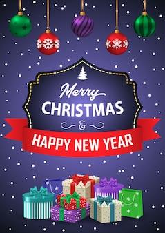 Poster buon natale e felice anno nuovo. l'iscrizione in una cornice decorativa con nastro e regali su uno sfondo viola.