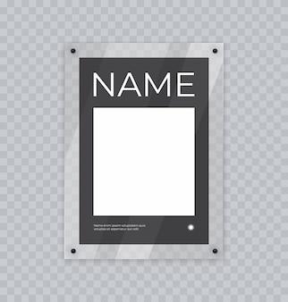 Mockup di poster in cornice acrilica espositore in vetro realistico per banner o foto appese al muro