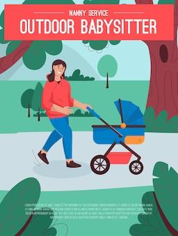 Poster del concetto di servizio baby sitter all'aperto