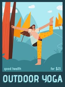 Poster del concetto di yoga all'aperto