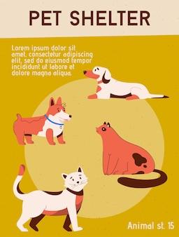 Poster del centro di adozione del concetto di rifugio per animali domestici per animali domestici senzatetto